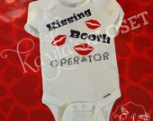 Kissing Booth Operator, Valentines day Baby Creeper, Bodysuit. Perfect for First Valentine's Days.