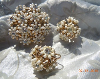 Elegant White Flower Enamel  Rhinestone Brooch & Matching Earrings
