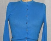 Vintage 1960 Cardigan Sweater Cornflower Blue Vintage Clothing Soc Hop Fashions Shirt Top Blue Acrylic Unworn/ Deadstock Sm 34