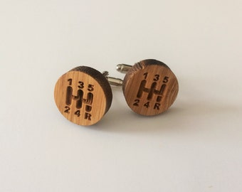 REAL WOOD CUFFLINKS / Gear Shift Cuff Links  / Gift for Car Enthusiast / Choice of Stain Color  / 5th anniversary  /Gift Boxed