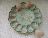 Beautiful Mint Green And Gold Vintage 1950's California Original Pottery Deviled Egg Plate