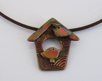 Copper Bird House Necklace, Bird Jewelry, Birdhouse Jewelry, Copper Jewelry, Black Leather Cord Necklace, Bird Lover, Heat Patina Copper