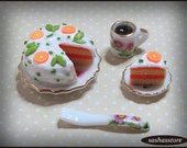 Cake and coffee 1:12 scale miniature dollhouse food