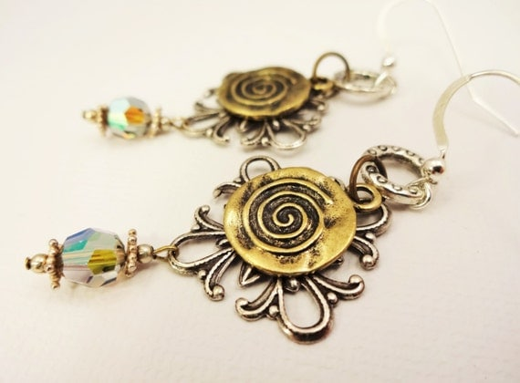 Mixed Metal Earrings with Silver Filigree and Antique Brass Swirl