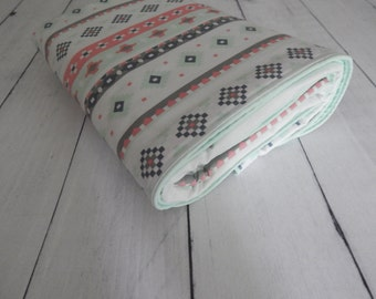 Design Your Bedding - Mint, Coral, Blue and Grey  -- changing pad cover, rail covers, sheet, crib skirt, bumpers, window treatments