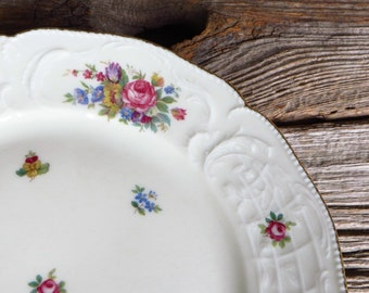 Rosenthal China Sanssouci 4 Salad Luncheon Dessert Plates Germany 1950s 1960s Elegant Dinnerware Cottage Chic Floral Rose Plates
