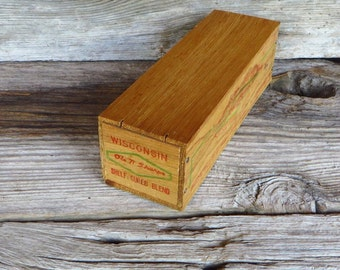 Wooden Cheese Box Wisconsin Ole N Sharpe Wood Cheese Box Curwensville Pennsylvania Rustic Farmhouse Kitchen Storage Box Primitive Home Decor