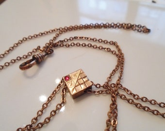 Victorian Watch Chain Gold Fill Ruby Paste Slide Swivel 1880s