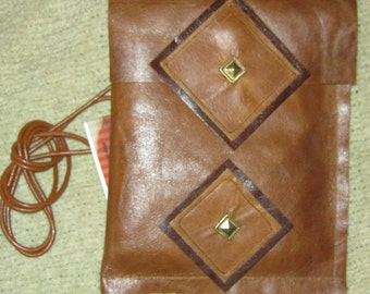 Upcycled caramel leather Phone Pouch