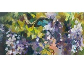 Wisteria. Impression. Original oil painting.