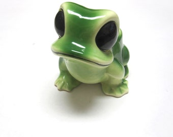 Frog Sponge Scrubie Holder Planter Vase Green Black Flower Holder