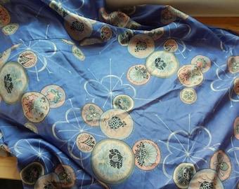 "Stunning Vintage 1930s Silk Yardage 90"" x 48"" Asian Print"