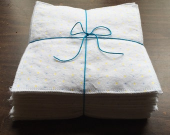 Cloth baby wipes set of 36 made with 2 layers of 100% cotton flannel white with blue and yellow polka dots
