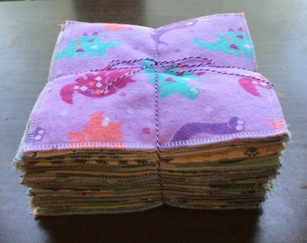 Cloth baby wipes set of  36 different patterns for boys made with 2 layers of 100% cotton flannel