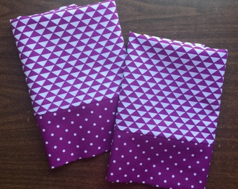 Purple and white pillow case set with purple polka doot cuff standard/queen