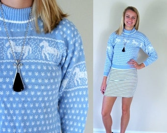 Half Off vtg 80s periwinkle blue UNICORN PRINT novelty SWEATER xs/s kitchsy tiny fit skinny knit top turtleneck hipster retro indie