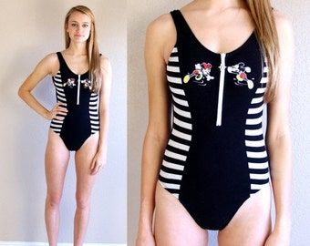 Sale vtg 80s MICKEY MOUSE zip up SWIMSUIT striped xs/s retro bathing suit swimwear one piece nautical