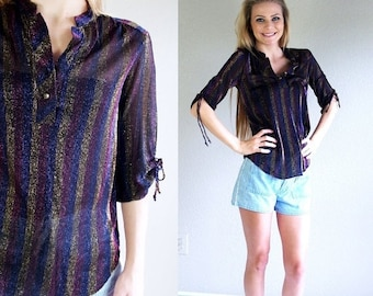 Sale vtg 80s sheer black METALLIC STRIPED skinny TUNIC xs/s fitted gold violet fushia glam disco shirt top roses