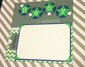Baby - Scrapbook Pages -  Baby Book Pages - Green, Grey, & Blue - RESERVED for Danielle D