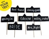 7 pieces Wedding Photo booth Props. Tags signs with Your Custom Text. Wedding Photo Booth Props. Wedding Decorations. Wedding photo props