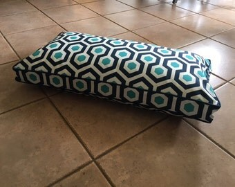 Dog Bed Cushion in Indoor Outdoor Geometric Fabric