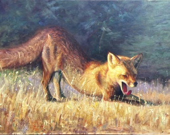 Downward Fox (original oil painting)