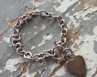 Vintage Sterling Silver Heavy Bracelet Charm Jewelry Round Link Bracelet