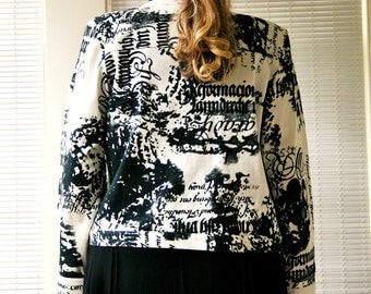 Retro graffiti print denim jacket / black & white graphic abstract / vintage 80s 90s punk rock fashion / made in USA