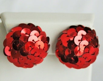 Disco balls bright red sequined earrings / vintage clip ons / 1950s or 60s party fashion