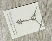 Silver Nautical Lariat Necklace with Anchor and Steering Wheel, love, anniversary, engagement, handmade jewelry