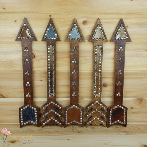 Items similar to Cowhide Arrow Sign - Western Hippie Home ...