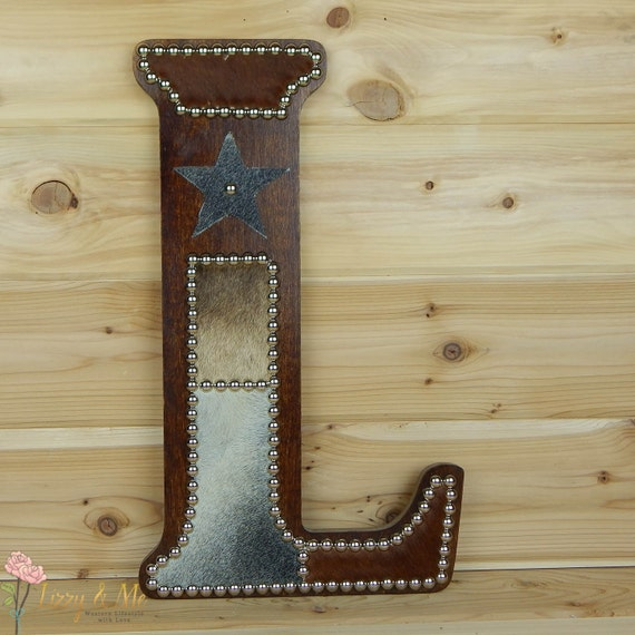 Cowhide Wall Letter L Western Home Decor Wall By LizzyandMe