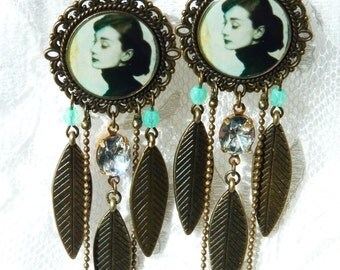 Audrey Hepburn Resin Chandelier Earrings - Summer Trends - Gift Ideas - For Her - Fashionista - Handmade - Movie Star - Audrey Earrings