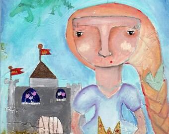 "I don't need no fairytales - 8x10"" Original Mixed Media princess painting"