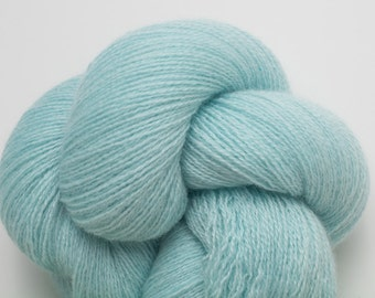 Lace Weight Recycled Cashmere Yarn, Mint Blue Green Recycled Lace Weight Cashmere Yarn, 1448 Yards Available
