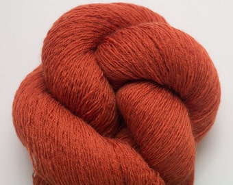 Rust Red Recycled Merino Yarn,  Rusty Lace Weight Merino Yarn, 2116 Yards Available