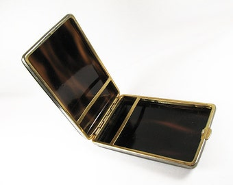 Vintage Cigarette Case, Faux Tortoise Shell, Made in Spain. Business Card Holder - Le Cas de Cigarettes.