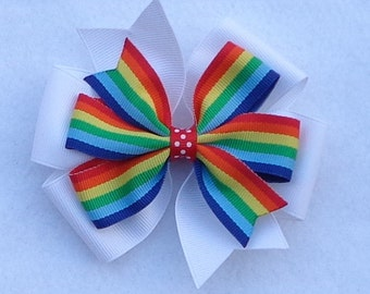 Rainbow Print Hairbow~Rainbow Boutique Hair Bow~Boutique Hair Bow~Basic Hair Bow~Simple Hair Bow~Large Pinwheel Hair Bow~Birthday Hair Bow