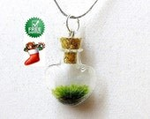 """Terrarium Necklace,  LOVE OF NATURE,Miniature Terrarium, Gift for Her, Christmas Gift, Free Shipping, 22"""" silver Chain"""