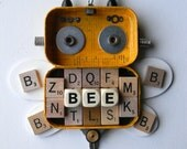 Hanging Bot - The Letter Bee - Wall Decor - Hanging Decor - Found Object Assemblage by Jen Hardwick