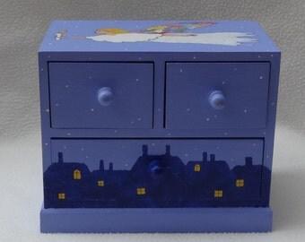 SALE. Angel Christmas Keepsake hand painted Treasure chest in purple-blue