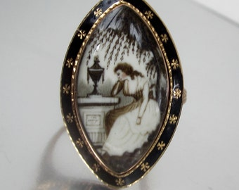 Antique Georgian (1786) Weeping Willow and Widow Mourning Ring