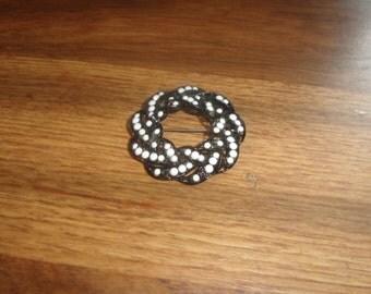 vintage pin brooch black metal wreath white beads