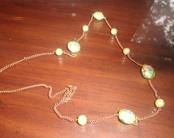 vintage necklace copper chain green glass embossed enamel flowers