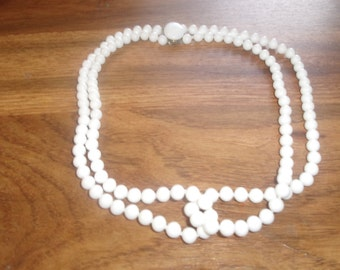 vintage necklace double strand white glass beads