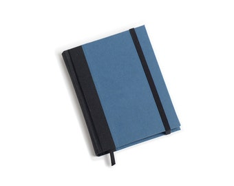 Pocket notebook - BLUE. Pocket book with elastic band. Blank or lined