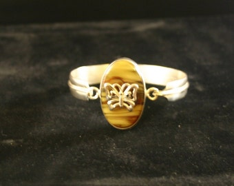 Amber and silver butterfly bracelet