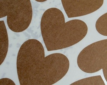 Heart Stickers Choose Size and Color- Kraft White Gold Foil or Silver Foil