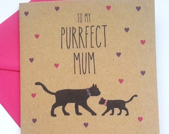 Black Cat Birthday/Mother's Day Card - To my Puurfect Mum