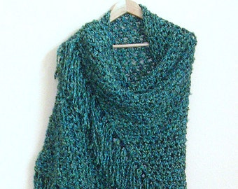 Blue Fringe Shawl - Large Triangle Crochet Wrap - Gypsy Boho Shawl - Handmade Bulky Crochet Shawl